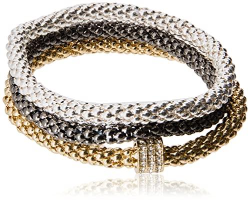 NINE WEST Women's Tri Tone Stretch Bracelet 3 Piece Set