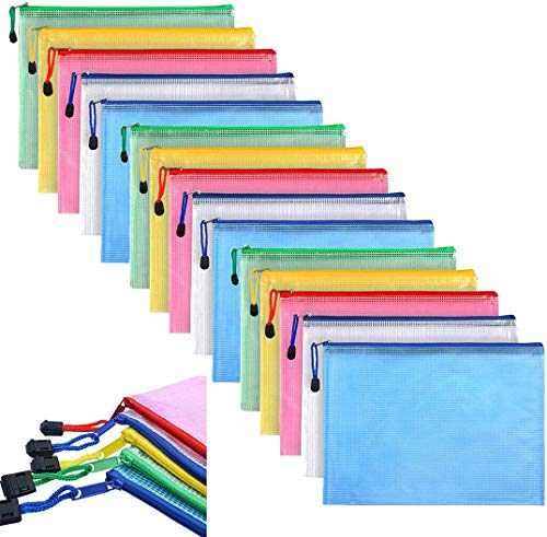 15 Stück Dokumententasche A4, Reißverschluss Dokumententasche Zip Farbig Plastik Zipper Bag mit Reißverschluss A4 Zipper Tasche für Datei, Papier, Büro Dokumente