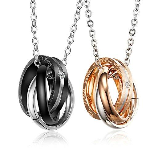 Daesar 2 Stücke Für Sie und Ihn Paare Kette Edelstahl 2 Ring Anhänger mit gravur Rosegold Schwarz Pärchen Halsketten 50CM