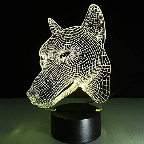 3D LED Dog Head Lamp Kids Toy Wolf Night Light 7 Colors Visual Atmosphere Sleeping Table Lamp Light Christmas Home Decor Gifts