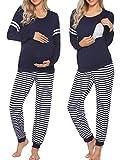 Ekouaer Materntiy & Nursing Pajamas Sets Long Sleeve Breatfeeding Pajamas with Jogger Pants for Hospital Navy Blue