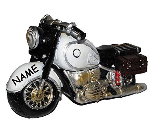 alles-meine.de GmbH Spardose Motorrad / Oldtimer - grau - incl. Namen - stabile Sparbüchse aus Kunstharz - Bike / Biker / Fahrzeug Old Style - Fahrschule - Geld Sparschwein / Fah..