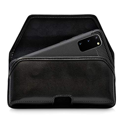 Turtleback Belt Case Designed for Galaxy S20 S21 (2020) Belt Holster Black Leather Pouch with Heavy Duty Rotating Belt Clip, Horizontal Made in USA Indiana