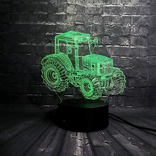 Ilusión 3D Luz nocturna 7 colores Visión LED Coche fresco Vehículo Flash Lámpara USB Mesita de noche Decoración Dormitorio Sueño Base USB Niño Niño Juguete Colorido Regalo creativo Control remoto
