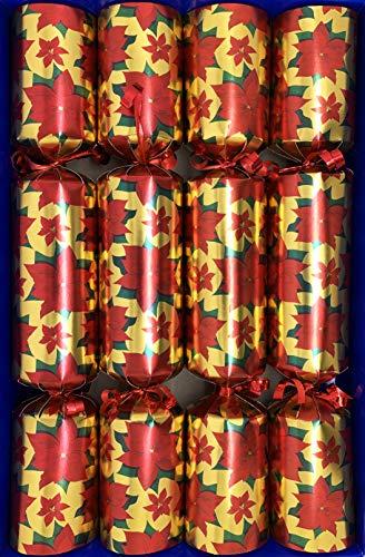 Crackers Ltd Set mit 4 roten Weihnachtsstern und goldenen Weihnachtsstern mit kleinen Spielfiguren zum Aufziehen