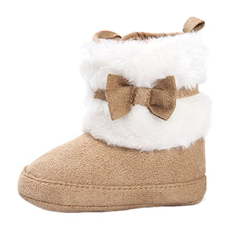 ESTAMICO Baby Girl Plush Winter Snow Bowknot Boots Khaki 3-6 Months