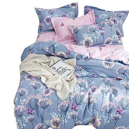 BuLuTu 3 Pieces Girls Duvet Cover Set Full Kids Blue/Purple/Pink Cotton,Dandelion Butterfly Print Reversible Bedding Sets Queen Comforter Cover 2 Pillow Shams Zipper,Super Soft,NO Comforter