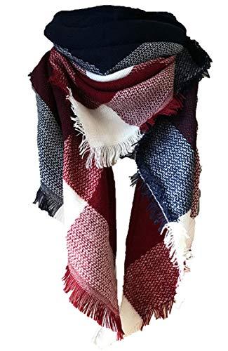 Wander Agio Womens Warm Scarf Triangle Shawls Large Scarves Stripe Plaid Fichu Big Dark Blue Purplish Red 23
