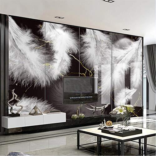 WOONN - Cuadro de pared de gran tamaño, diseño moderno y minimalista, con plumas creativas y mármol, color negro y dorado, 500CM*300CM