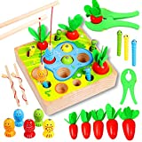 Toys for 1 Year Old Boy Montessori Toys for Toddlers Sensory Education Wooden Toys for 1 2 3 Year Old Babies Gifts for Christmas Birthday Kids Boys & Girls Fishing Games Carrot Harvest Catching Worm