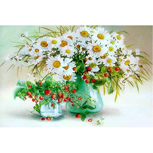 Lazodaer - Kit de pintura de diamante 5D para adultos, niños, principiantes, decoración de oficina en casa, regalos para ella, margaritas y fresas, 39,7 x 30 cm