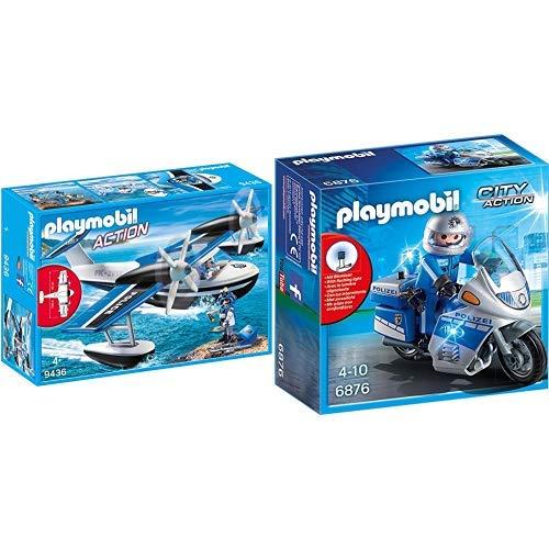 Playmobil 9436 - Polizei-Wasserflugzeug Spiel &  6876 - Motorradstreife mit LED-Blinklicht