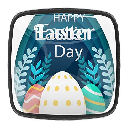 Tirador de cajón de 30 mm, 4 piezas, de cristal, para el hogar, cocina, armarios de cocina, feliz día de Pascua en estilo de papel