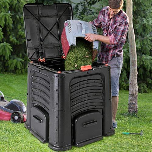 ZHANGYY Compostador de jardín de 115 galones, contenedor de compostaje de Gran Capacidad de 400 l, Barril de compostaje de desechos de Alimentos de Gran tamaño, Fertilizante orgánico caser