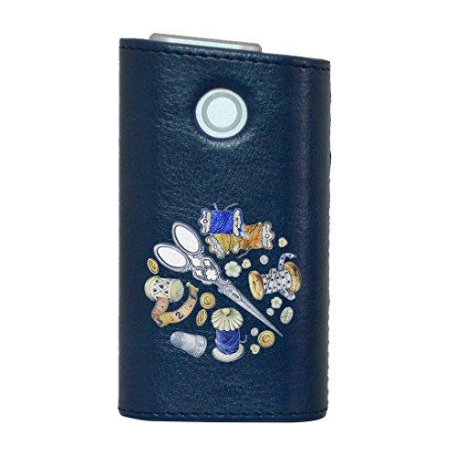 glo グロー グロウ 専用 レザーケース レザーカバー タバコ ケース カバー 合皮 ハードケース カバー 収納 デザイン 革 皮 BLUE ブルー 裁縫 道具 014162