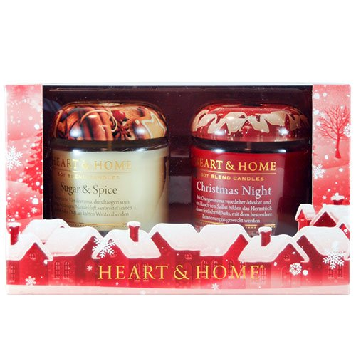 Heart & Home Lot de 2 bougies parfumées Motif Noël Night, Sugar & Spice, 200 g