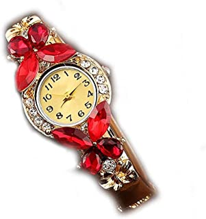 Women Watch Analogue Quartz Movement Wrist Watches with Alloy Armband Crystal Butterfly Watches with Button Battery (Red)