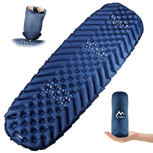 BAGLOBAL Isomatte Camping, mit aufblasbarem Beutel, leicht aufblasbar, rutschfeste wasserdichte Luftmatratze, leicht zu tragen, geeignet für Camping und Wandern im Freien(Blau)