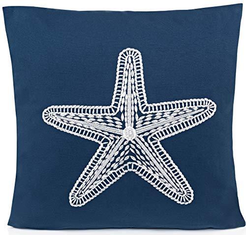 ZLXO NOVELTIES Beach Throw Pillow| Decorative Throw Pillows Cushion Cover |18 x 18 Inch Coastal Pillow Case Cover | Decorative Beach Pillow Cover with Embroidery (Navy Blue Starfish)