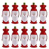gizhome 10Stück Santa Claus Weihnachten Kordelzug rot Wein Flasche Cover Staubbeutel für Home Dinner Party Dekoration Tisch Decor X-Mas Geschenk
