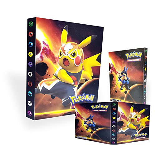 TUXUNQING Portacarte Pokémon, Album di Carte Collezionabili Pokémon, Album Allenatore di Carte Pokémon GX Ex. L'album ha 30 Pagine e può Contenere 240 Carte. (Pikachu)