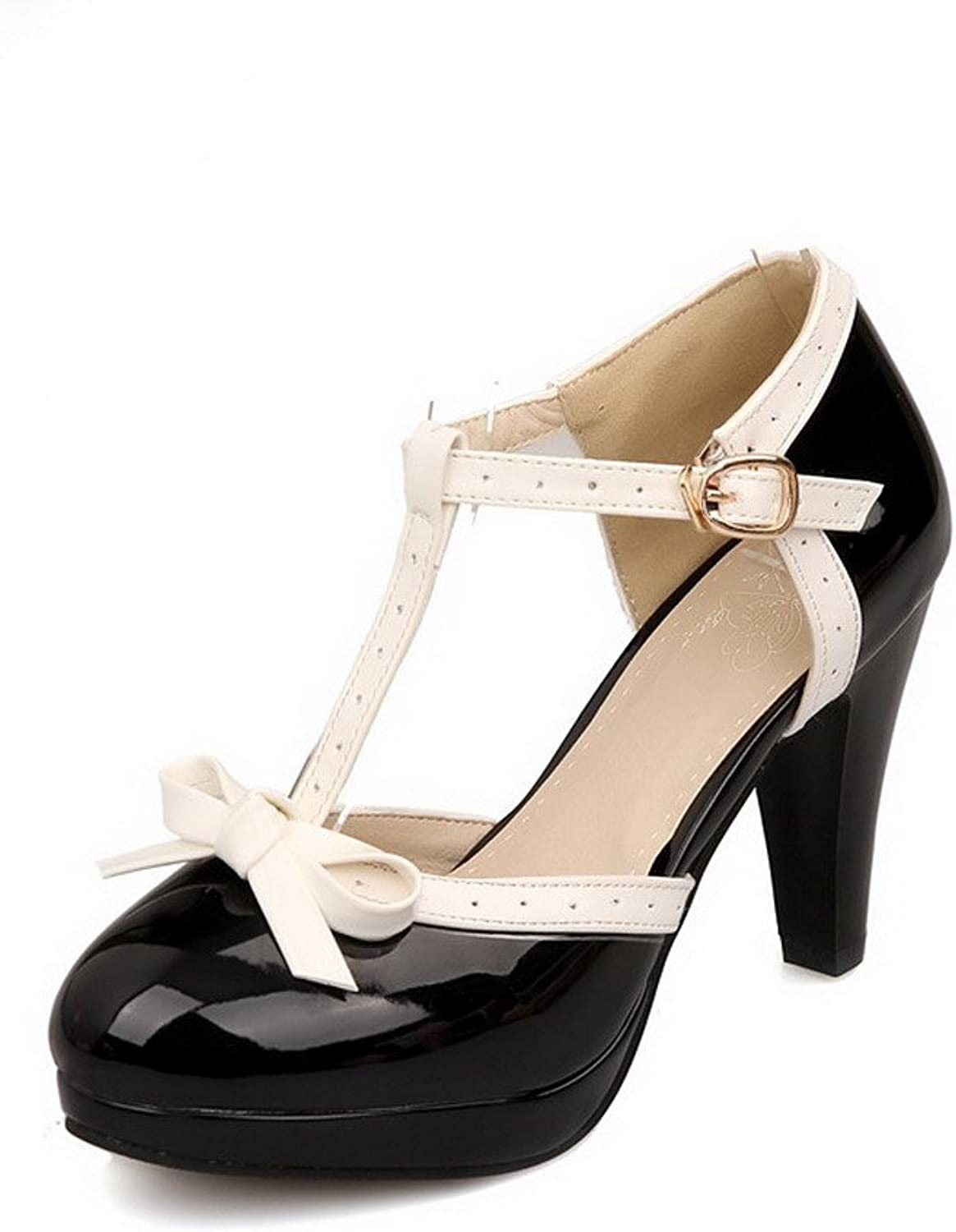 WeenFashion Women's Buckle High-Heels PU Assorted color Round Closed Toe Sandals