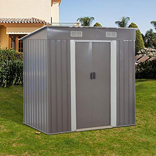 Metal Garden Apex Roof Storage Shed (Grey, 4x6')