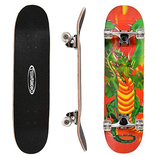 ChromeWheels 31 inch Skateboard Complete Longboard Double Kick Skate Board Cruiser 8 Layer Maple Deck for Extreme Sports and Outdoors, Green