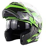 ATK SM955 Módulo Desplegable Casco de Motocicleta Doble Parabrisas Visera Solar Incorporada Forro Extraíble Cerradura Portátil, Dot,Green,M(57-58cm)