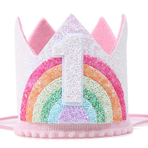 Birthday Rainbow Girl Crown, Birthday Hat for Event Party Supplies, Photo Props
