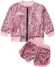 Toddler Baby Girl Kids Fall Jacket Outfits Sequin Zipper Tops Shorts Clothes Set