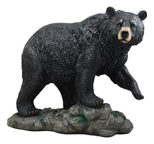 Ebros Large Realistic Strolling Black Bear Statue 16.5' Long Rustic Cabin Decor Figurine