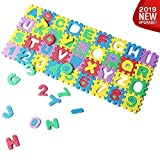 [2019 New] Eutuxia Alphabet Letters & Numbers Mini Puzzle for Building Blocks & Floor Play Mat. Fun & Colorful Educational Learning Toy for Toddlers, Babies & Kids. Safe Non-Toxic EVA Foam. [36 Pcs]