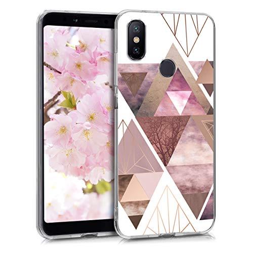 kwmobile Funda Compatible con Xiaomi Mi 6X / Mi A2 - Carcasa de TPU y triángulos en Rosa Claro/Oro Rosa/Blanco