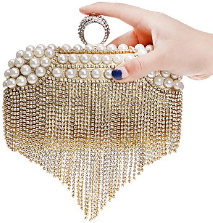 W&P Women Tassel Pearl Diamonds Evening Bag