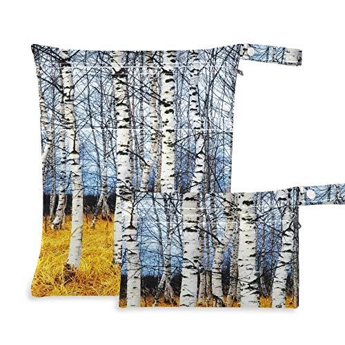 WYYWCY Autumn Birch Grove Among Orange Grass Bolsa Impermeable Dos Bolsillos 11.8 × 14.2 Pulgadas y 5.9 × 8.7 Pulgadas Bolsa de Tela Organizador Impermeable Bolsa de lavandería Mochila para TR