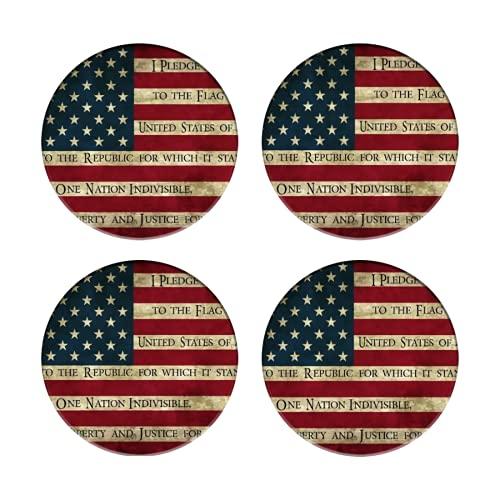 Posavasos para Bebidas,Juramento a la Bandera de la Bandera Americana Vintage,Manteles Individuales...