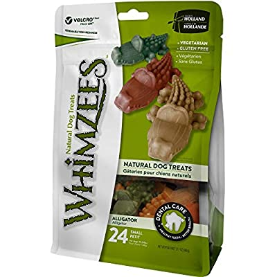 WHIMZEES Natural Dental Dog Chews Long lasting, Small Alligator, 24 Pieces