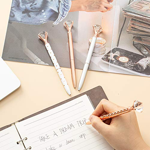 PASISIBICK 4 PCS Diamond Pens Bling Crystal Metal Ballpoint Pen Office Supplies, Rose Gold/Silver/White With Rose Polka Dots/Rose Gold With White Polka Dots, Includes 4 Pen Refills Photo #9