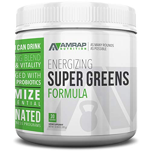 AMRAP Nutrition Energizing Super Greens Powder, 300g, High Quality, WADA Compliant, Athlete Approved (30 Servings)