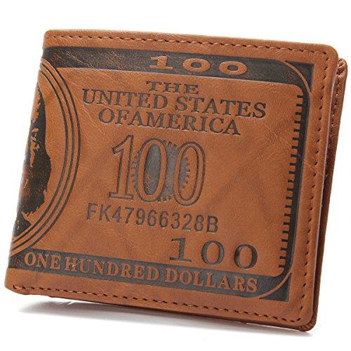 Slim Wallet for Men, OURBAG US $100 Dollar Bill PU Leather Bifold Card Holder Wallet Boy Coin Purse