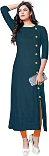 VISVA DESIGNER Straight Plain Rayon Kurtis/Dress for Women
