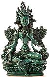 BUDDHAFIGUREN/Billy Held Statuette Bouddha –Vert de Tara, 15cm, en polyuréthane de Couleur Turquoise, décoration tibétaine, Faite à la Main en au Népal