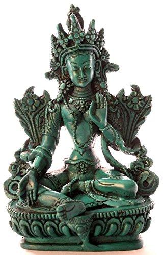 BUDDHAFIGUREN/Billy Held Grüne Tara Figur Buddha Statue, Resin, Türkis, 15 cm