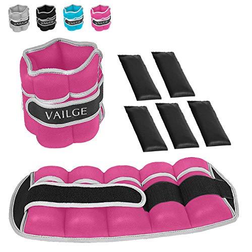 Vailge Tobillera con pesas ajustables de 0,5 kg a 3 kg, para piernas y hombres y mujeres, para fitness, ejercicio, correr, gimnasia, color rosa, 2 kg (2 x 2 = 4 kg)