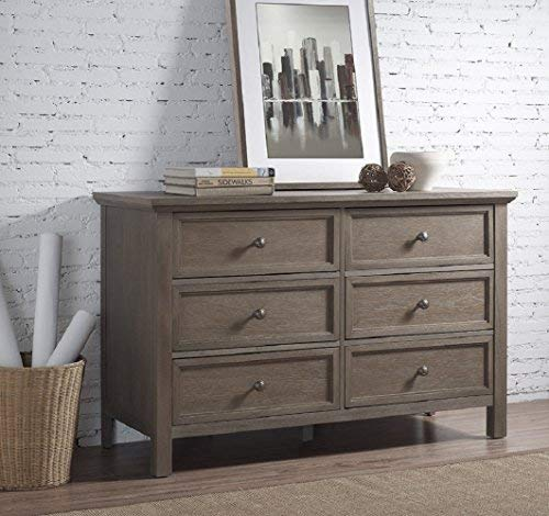 "RUNFINE Bedroom Rustic Collection All Wood Dresser with 6 Large Drawers, 47.5"". Grey Finish"