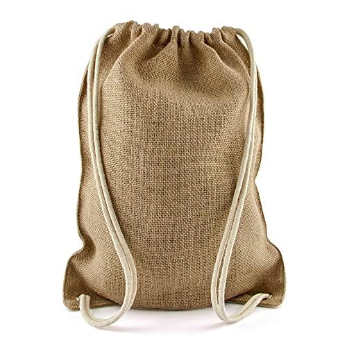 pamindo Turnbeutel aus Jute groß unbedruckt & bedruckt als Rucksack - Jutebeutel als Gym Bag mit Innentasche für Damen, Herren und Kinder - Größe 33 x 44 cm (Logo innen)