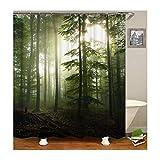 Dreamdge Duschvorhang Wald, Wasserdicht Antibakteriell Polyester Vorhang Für Dusche & Badewanne Duschvorhangs 90X180 Mit 12 Haken