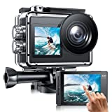 Action Camera Dual Screen 4K/30fps 20MP EIS Anti-Shake WiFi Underwater Camera Waterproof 40m Sports Camera Touch Screen 170° Angle Remote Control 2 Rechargeable 1350mAh Batteries & Accessories Kit