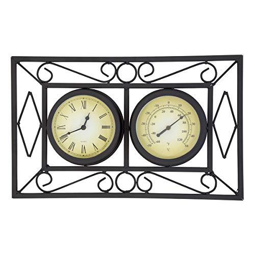 Horloge murale - jardin - thermomètre - noir